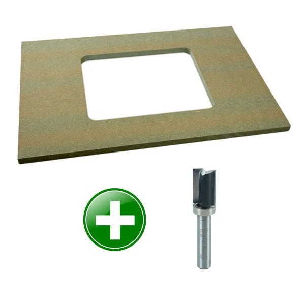 Frässchablone für Einlegeplatten (Bundle mit Bündigfräser)